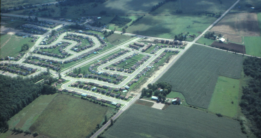 Aerial view of the McCartney farm and surrounding area.